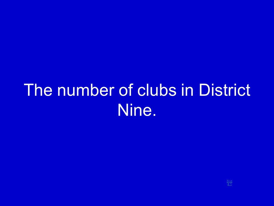 The number of clubs in District Nine. Slid e 1