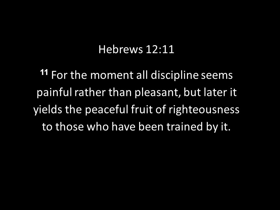 Hebrews 12:11 11 For the moment all discipline seems painful rather than pleasant, but later it yields the peaceful fruit of righteousness to those who have been trained by it.
