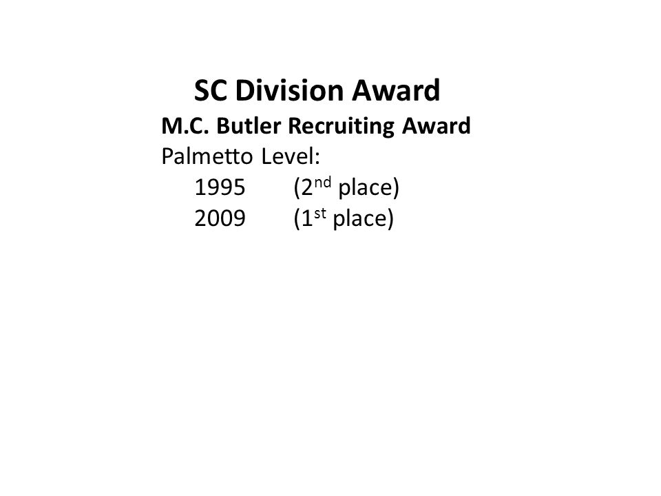 SC Division Award M.C. Butler Recruiting Award Palmetto Level: 1995(2 nd place) 2009(1 st place)
