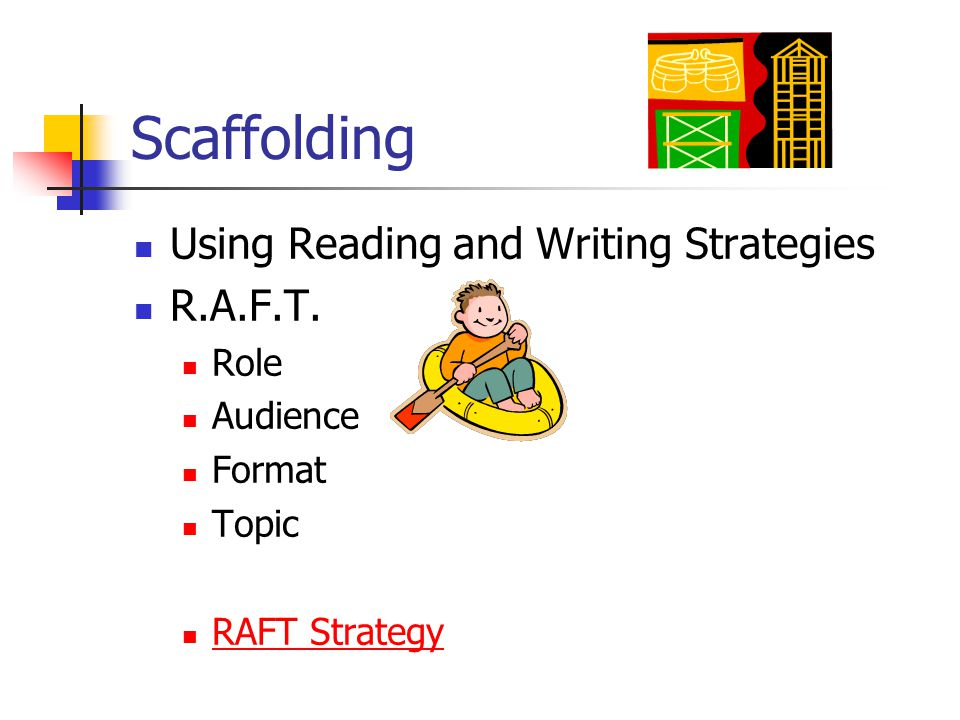 Scaffolding Using Reading and Writing Strategies R.A.F.T. Role Audience Format Topic RAFT Strategy