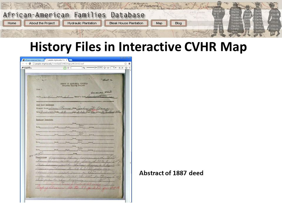 History Files in Interactive CVHR Map Abstract of 1887 deed