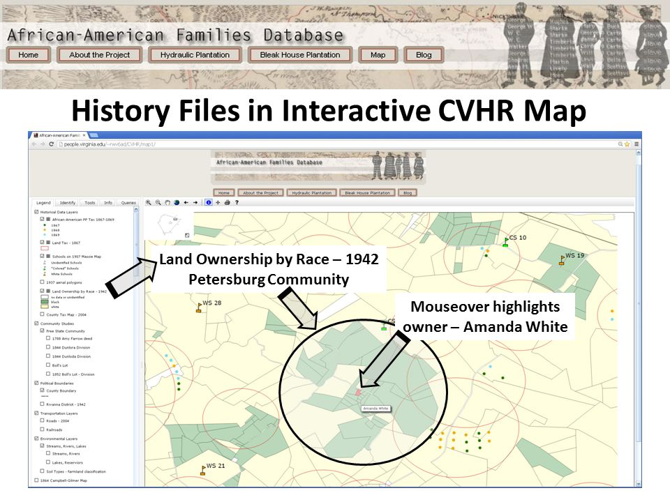 History Files in Interactive CVHR Map Land Ownership by Race – 1942 Petersburg Community Mouseover highlights owner – Amanda White