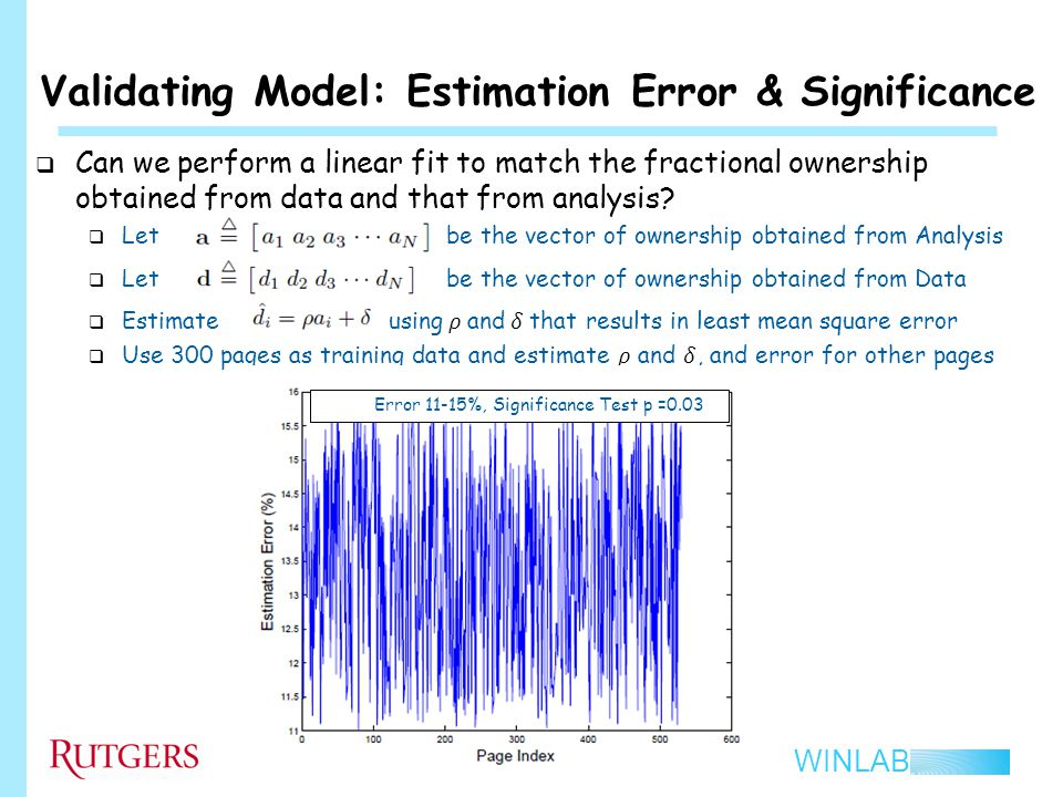 WINLAB Validating Model: Estimation Error & Significance 21 Error 11-15%, Significance Test p =0.03
