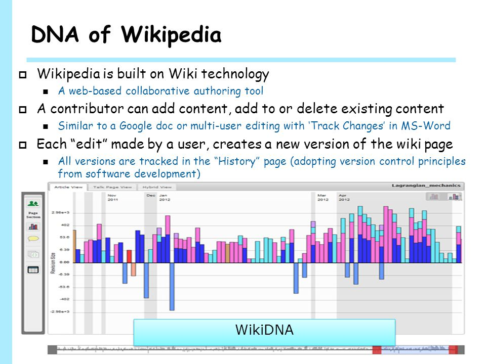 WINLAB DNA of Wikipedia  Wikipedia is built on Wiki technology A web-based collaborative authoring tool  A contributor can add content, add to or delete existing content Similar to a Google doc or multi-user editing with 'Track Changes' in MS-Word  Each edit made by a user, creates a new version of the wiki page All versions are tracked in the History page (adopting version control principles from software development) 4 WikiDNA