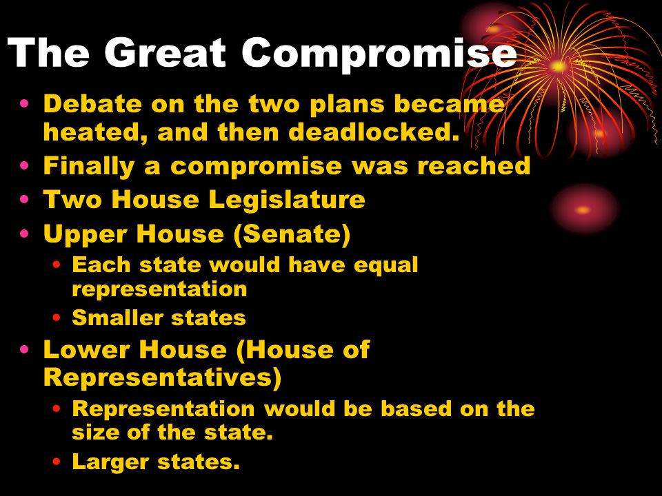 The Great Compromise Debate on the two plans became heated, and then deadlocked.