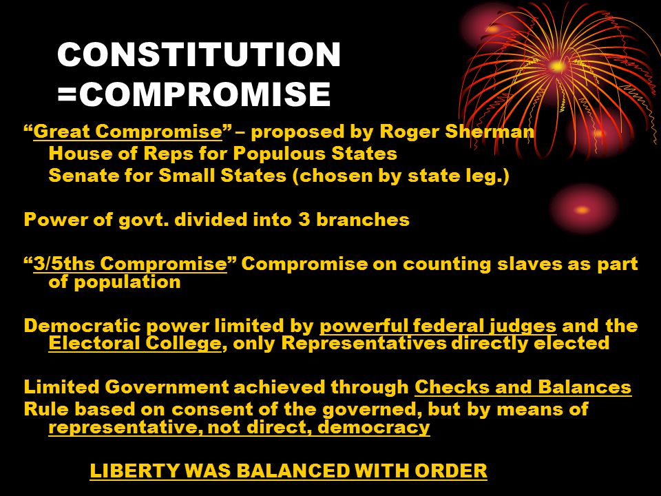 CONSTITUTION =COMPROMISE Great Compromise – proposed by Roger Sherman House of Reps for Populous States Senate for Small States (chosen by state leg.) Power of govt.