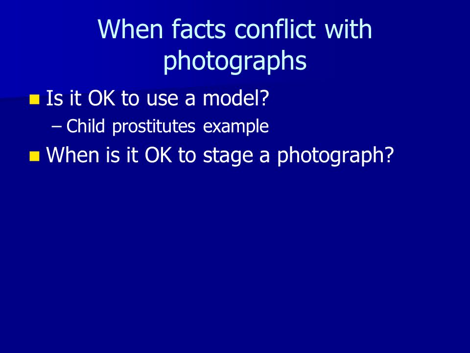 When facts conflict with photographs Is it OK to use a model.