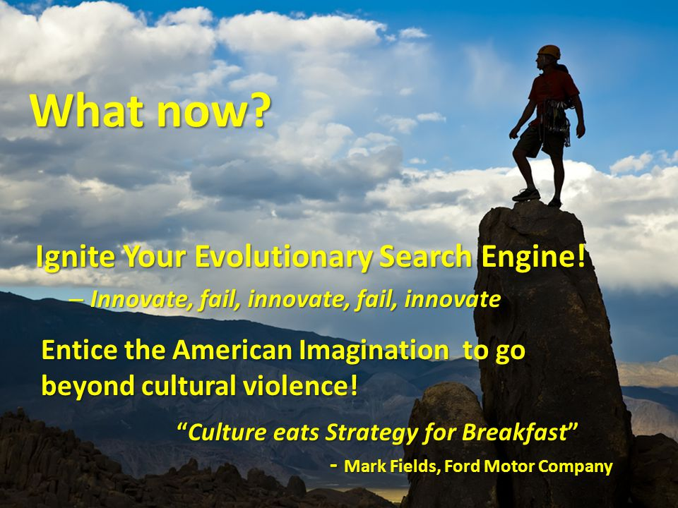 Ignite Your Evolutionary Search Engine. – Innovate, fail, innovate, fail, innovate What now.
