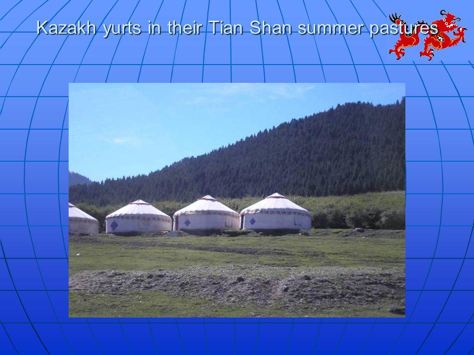 Kazakh yurts in their Tian Shan summer pastures