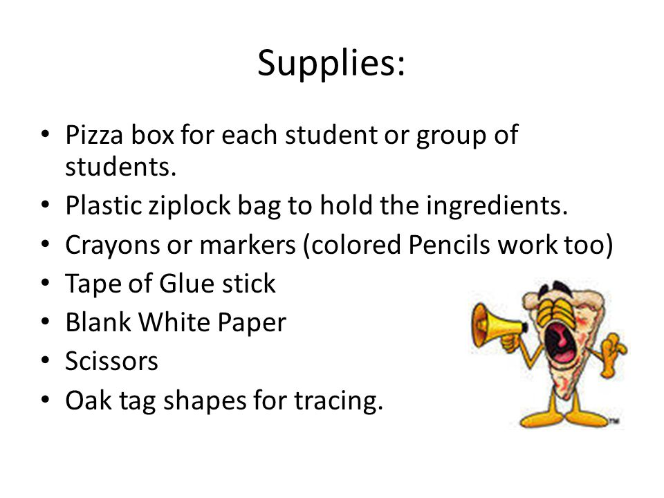 Supplies: Pizza box for each student or group of students. Plastic ziplock bag to hold the ingredients. Crayons or markers (colored Pencils work too)