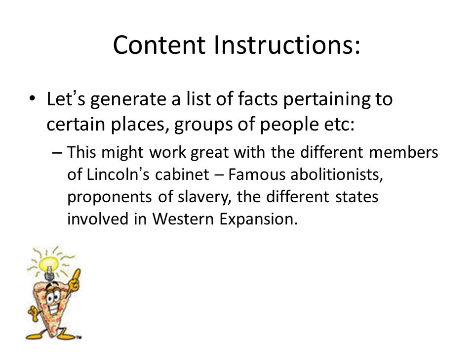 Content Instructions: Let's generate a list of facts pertaining to certain places, groups of people etc: – This might work great with the different me