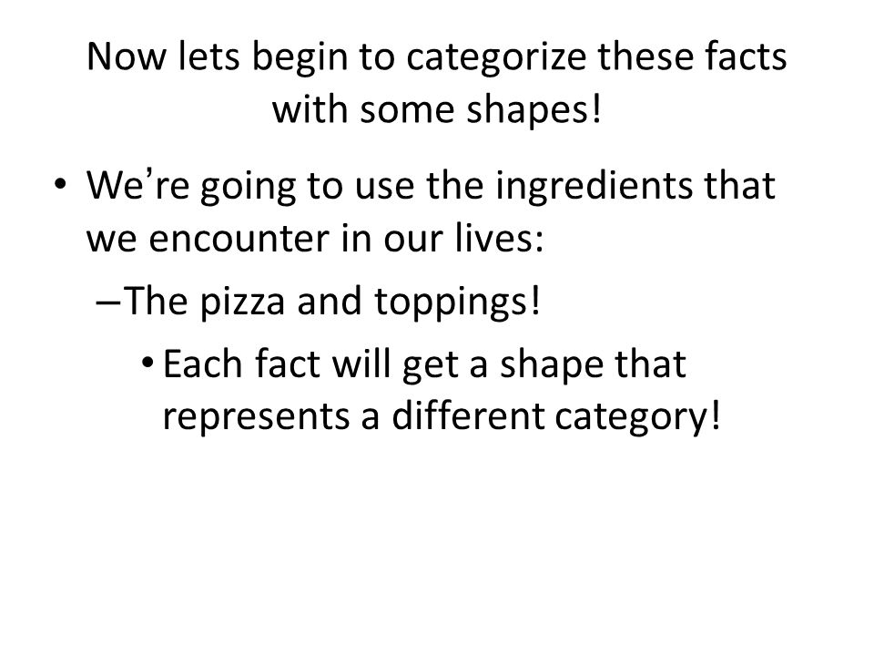 Now lets begin to categorize these facts with some shapes! We're going to use the ingredients that we encounter in our lives: – The pizza and toppings