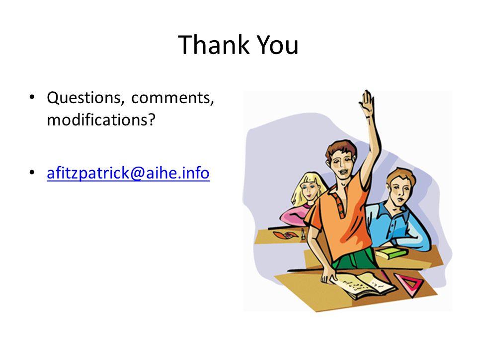 Thank You Questions, comments, modifications? afitzpatrick@aihe.info