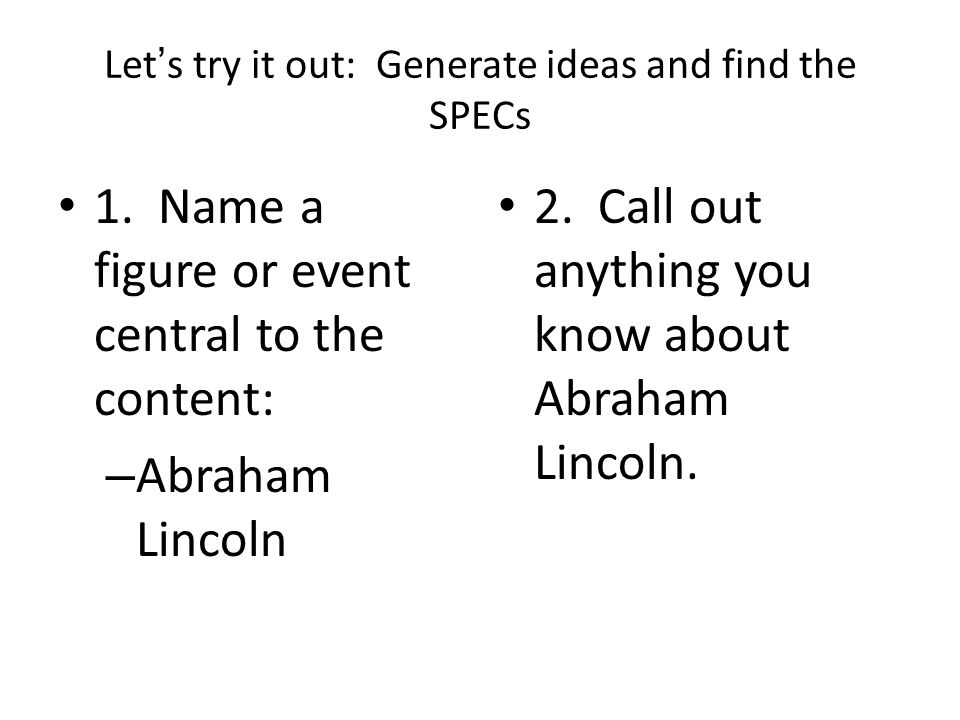 Now: Let's take the list and use SPEC to categorize and organize our answers.