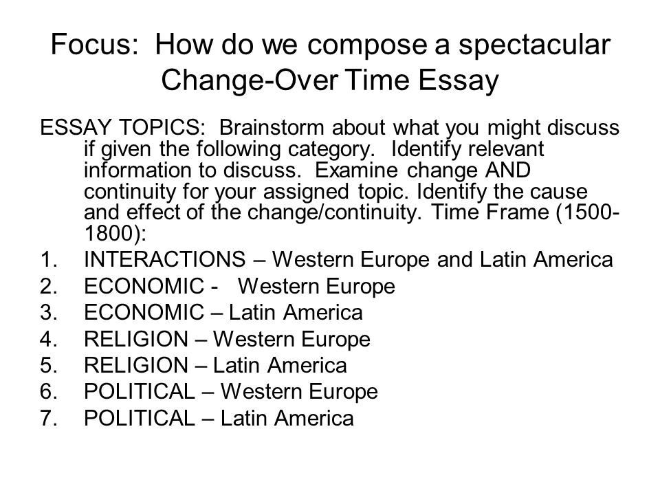 Suggested Topics for COT Analysis POLITICAL: Western Europe (Absolutism and the Enlightenment), Latin America (Colonial Expansion into Latin America and the Pacific by the Spanish and Portuguese, Political arrangements in the colonies – i.e.