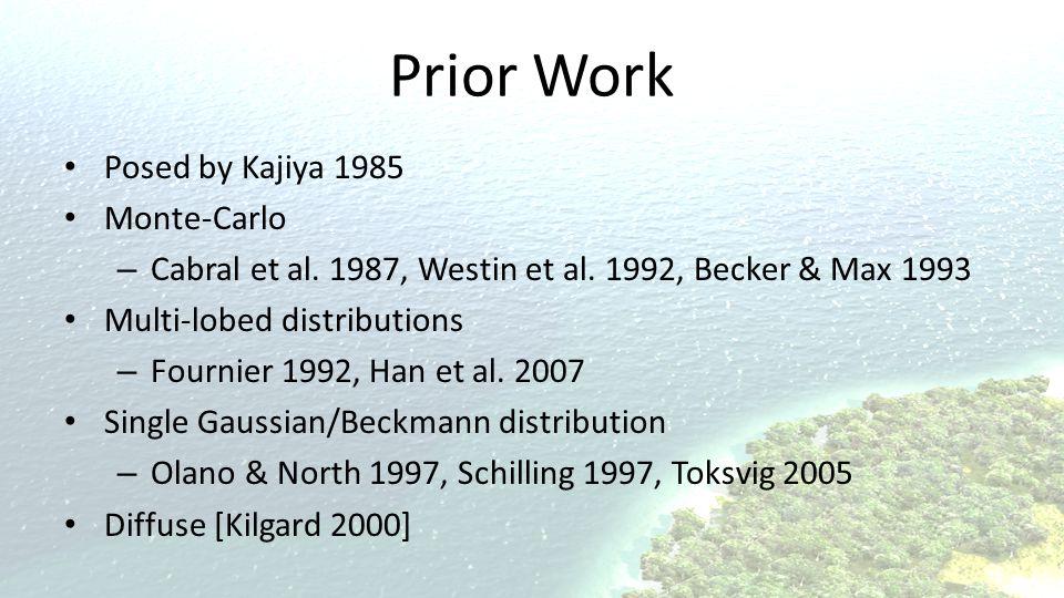 Prior Work Posed by Kajiya 1985 Monte-Carlo – Cabral et al.