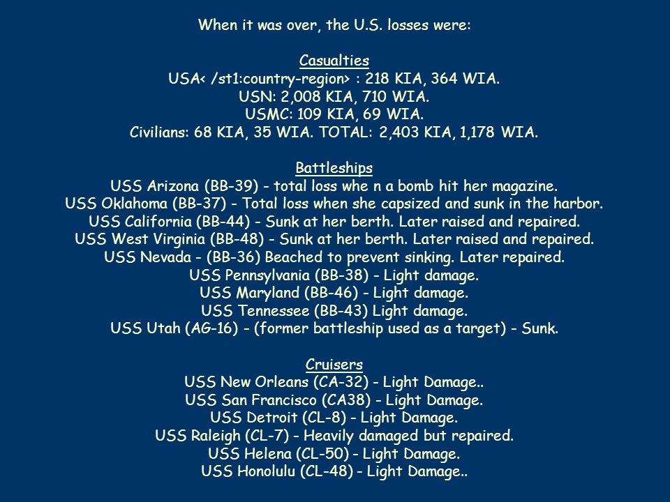 When it was over, the U.S. losses were: Casualties USA : 218 KIA, 364 WIA.