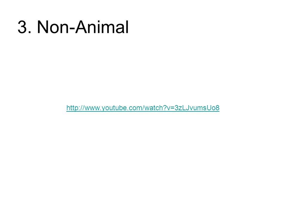 3. Non-Animal http://www.youtube.com/watch v=3zLJvumsUo8