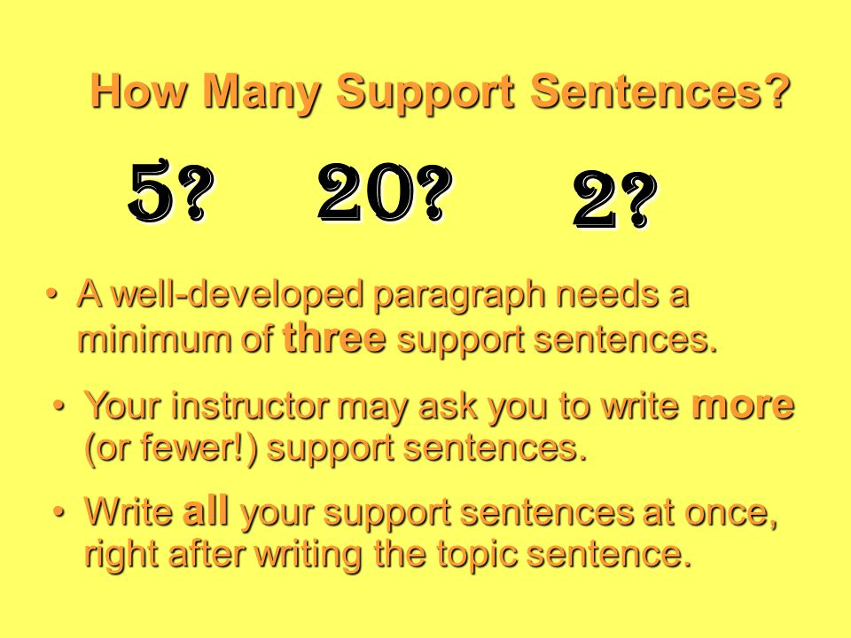 SupportSentences: Yellow means – slow down! Support Sentences: Yellow means – slow down! Support sentences add information to the topic sentence.Support sentences add information to the topic sentence.