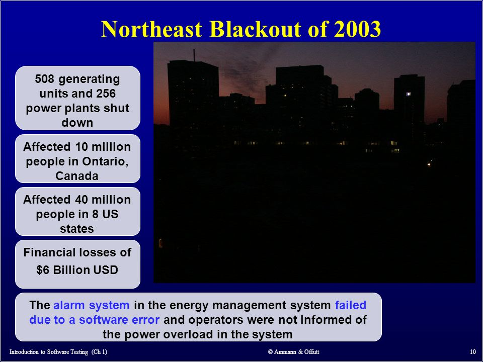 Northeast Blackout of 2003 Introduction to Software Testing (Ch 1) © Ammann & Offutt 10 Affected 10 million people in Ontario, Canada Affected 40 mill