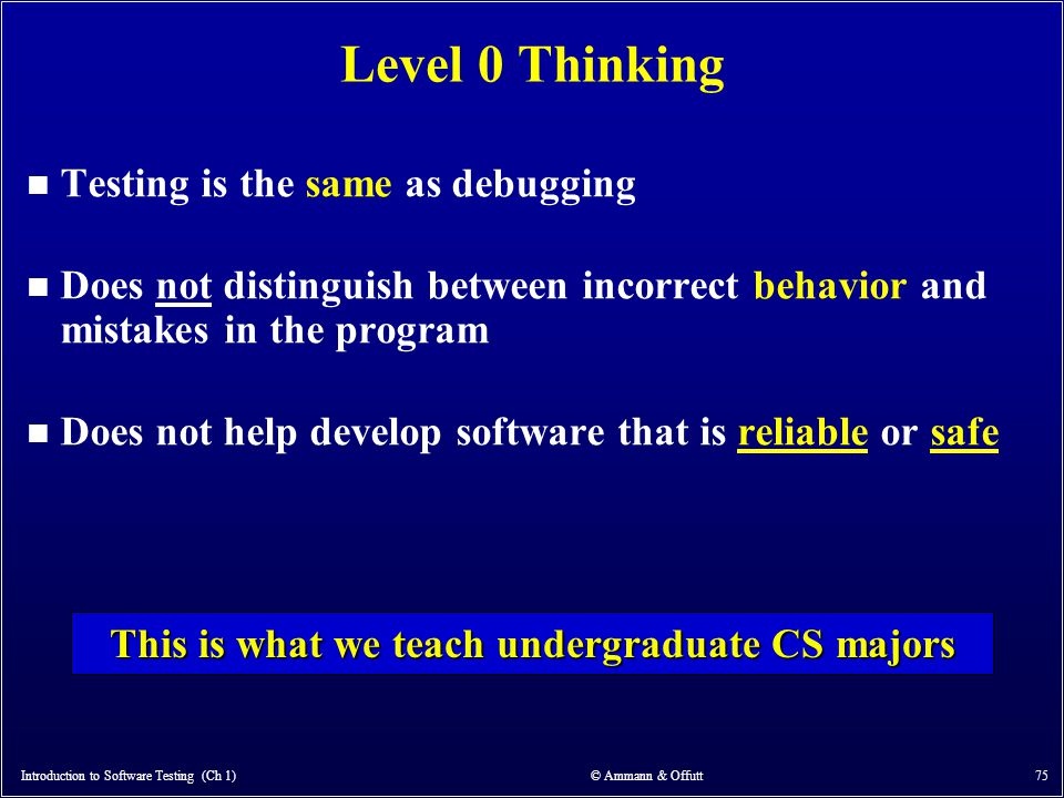 Introduction to Software Testing (Ch 1) © Ammann & Offutt 75 Level 0 Thinking n Testing is the same as debugging n Does not distinguish between incorr