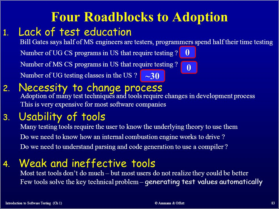 Four Roadblocks to Adoption Introduction to Software Testing (Ch 1) © Ammann & Offutt 83 1. Lack of test education 2. Necessity to change process 3. U