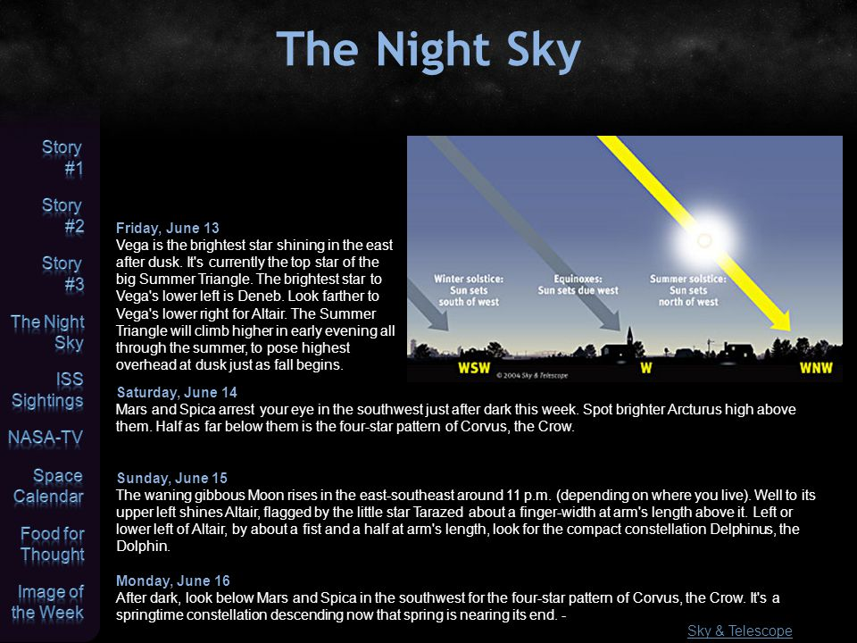 The Night Sky Sky & Telescope Friday, June 13 Vega is the brightest star shining in the east after dusk.