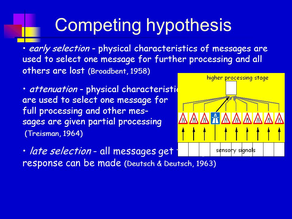 early selection - physical characteristics of messages are used to select one message for further processing and all others are lost (Broadbent, 1958) attenuation - physical characteristics are used to select one message for full processing and other mes- sages are given partial processing (Treisman, 1964) late selection - all messages get through, but only one response can be made (Deutsch & Deutsch, 1963) Competing hypothesis