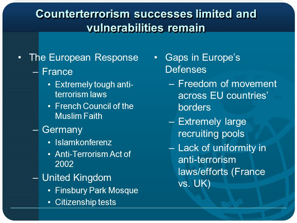 Counterterrorism successes limited and vulnerabilities remain The European Response –France Extremely tough anti- terrorism laws French Council of the Muslim Faith –Germany Islamkonferenz Anti-Terrorism Act of 2002 –United Kingdom Finsbury Park Mosque Citizenship tests Gaps in Europe's Defenses –Freedom of movement across EU countries' borders –Extremely large recruiting pools –Lack of uniformity in anti-terrorism laws/efforts (France vs.