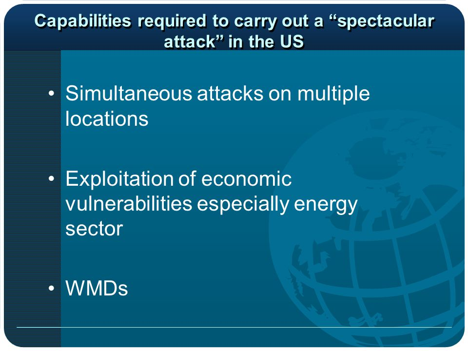 Capabilities required to carry out a spectacular attack in the US Simultaneous attacks on multiple locations Exploitation of economic vulnerabilities especially energy sector WMDs