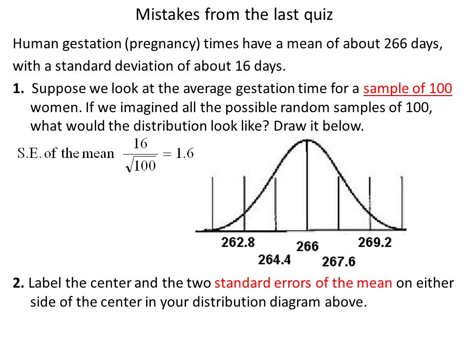 Mistakes from the last quiz Human gestation (pregnancy) times have a mean of about 266 days, with a standard deviation of about 16 days.