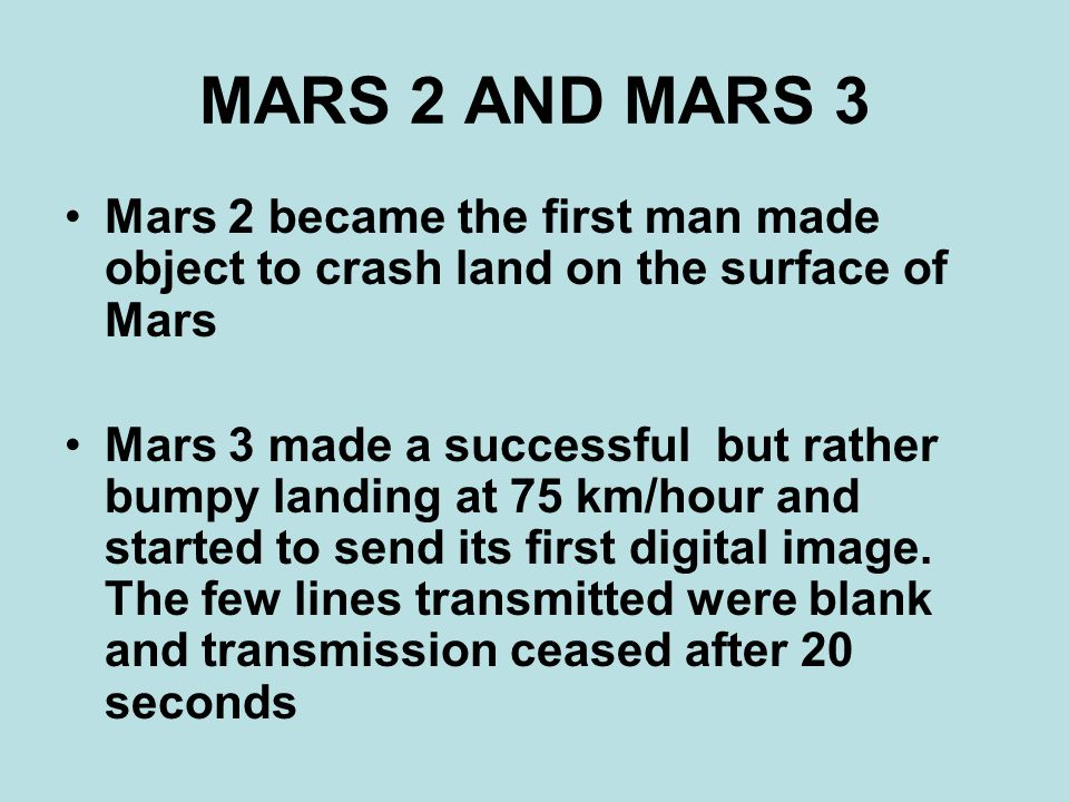 THE CURSE OF MARS The year 1973 was a bad year for the Russians.