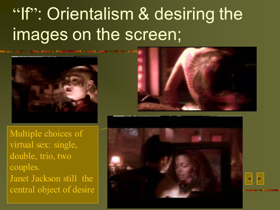 If : Orientalism & desiring the images on the screen; Multiple choices of virtual sex: single, double, trio, two couples.