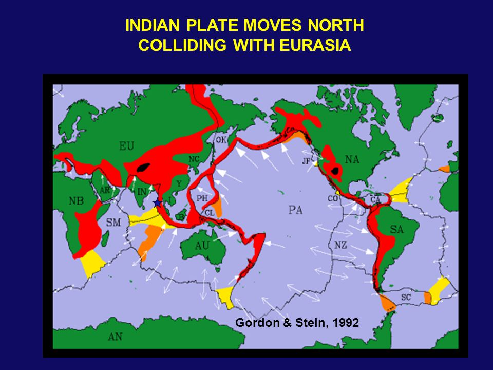 Gordon & Stein, 1992 INDIAN PLATE MOVES NORTH COLLIDING WITH EURASIA
