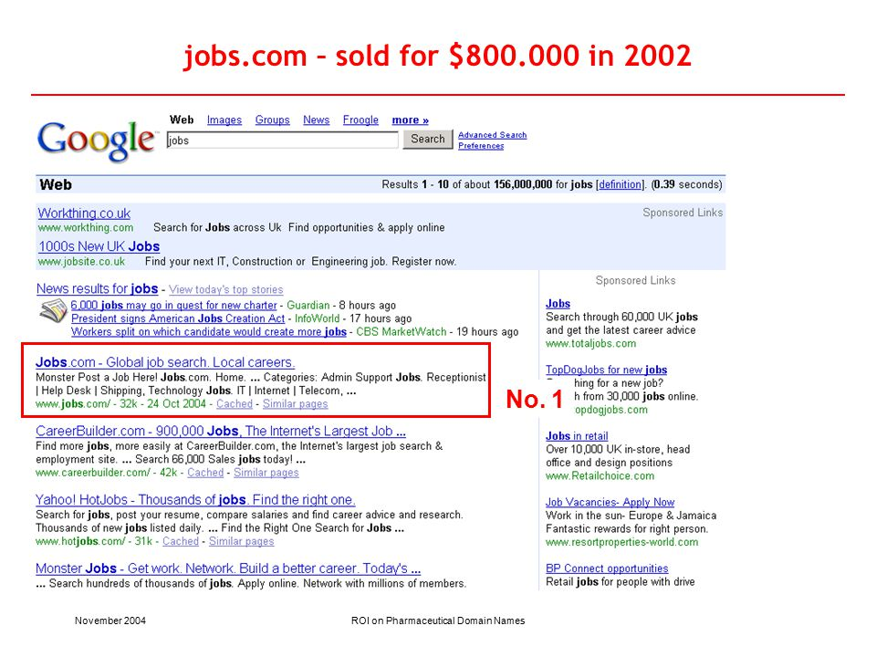 November 2004ROI on Pharmaceutical Domain Names jobs.com – sold for $800.000 in 2002 No. 1