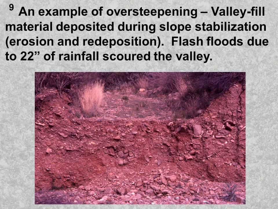 An example of oversteepening – Valley-fill material deposited during slope stabilization (erosion and redeposition).