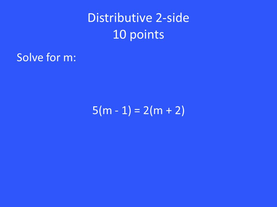 50 points Solve for x: 2(3x + 4) + 2 = 6x + 10 6x + 8 + 2 = 6x + 10 6x + 10 = 6x + 10 6x = 6x x = x Distribute 2 Add 8 and 2 Subtract 10 Divide by 6 There are infinitely many solutions.