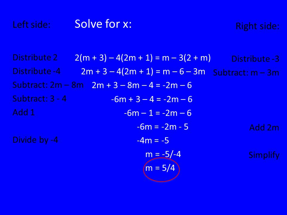 FINAL JEOPARDY Solve for x: 2(m + 3) – 4(2m + 1) = m – 3(2 + m)