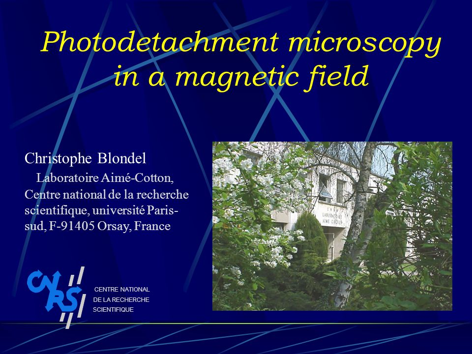 Photodetachment microscopy in a magnetic field Christophe Blondel Laboratoire Aimé-Cotton, Centre national de la recherche scientifique, université Paris- sud, F-91405 Orsay, France CENTRE NATIONAL DE LA RECHERCHE SCIENTIFIQUE