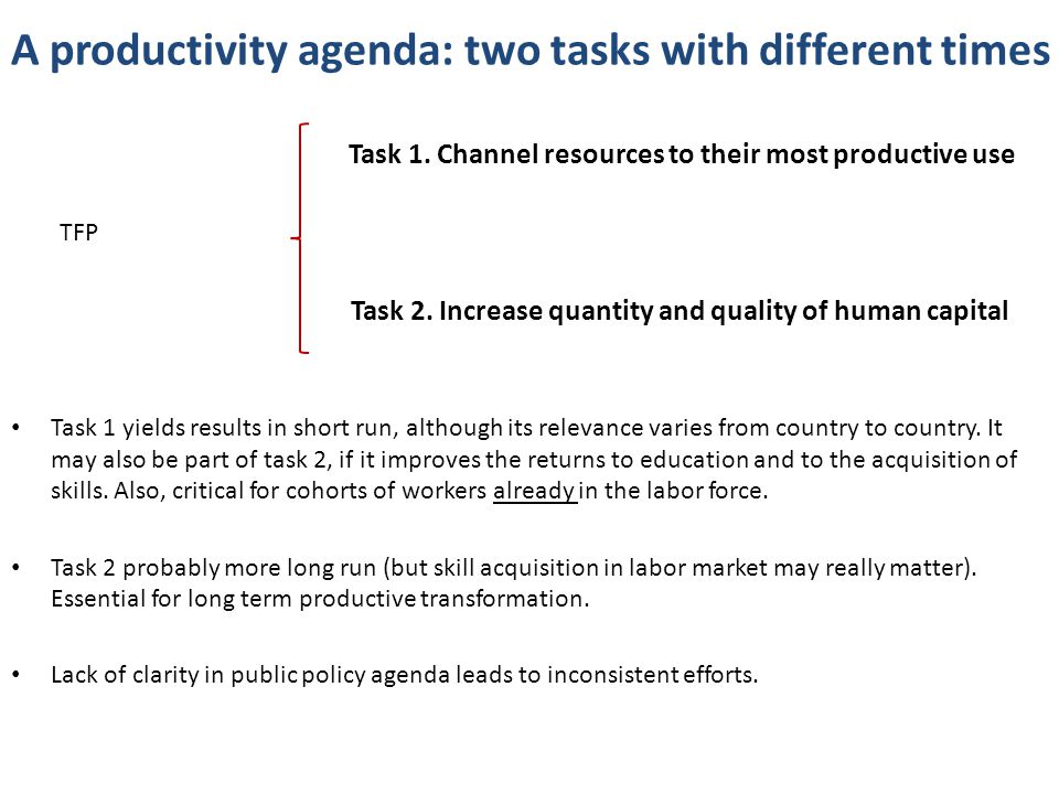 A productivity agenda: two tasks with different times Task 1.