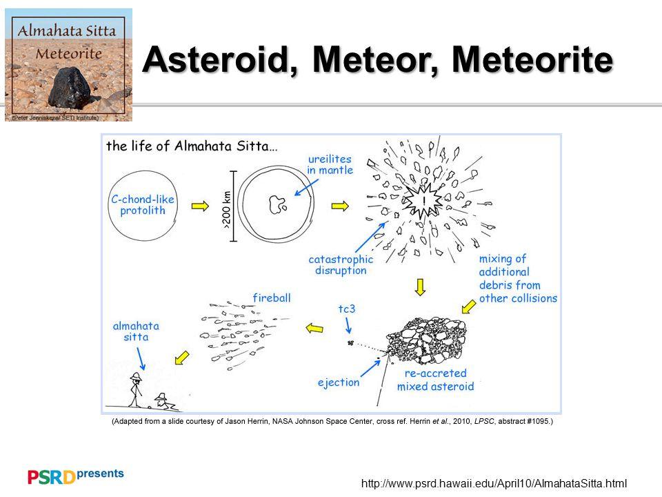 Asteroid, Meteor, Meteorite http://www.psrd.hawaii.edu/April10/AlmahataSitta.html