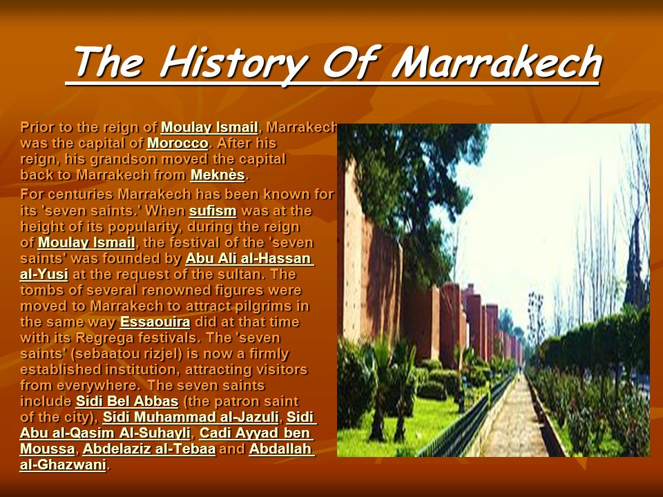 History of MarrakeSh  Marrakech or Marrakesh (Amazigh: Murakush, Arabic مراكش Murrākush), known as the Red City , is an important and former imperial city in Morocco.