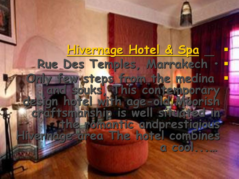 Sofitel  Rue Haroun Errachid, Marrakech Show map Show map Show map  Sofitel Marrakech Le Palais looks like a Moorish palace with its huge lobby area where the statue of the water carrier from Jema El Fna square has pride of place.…