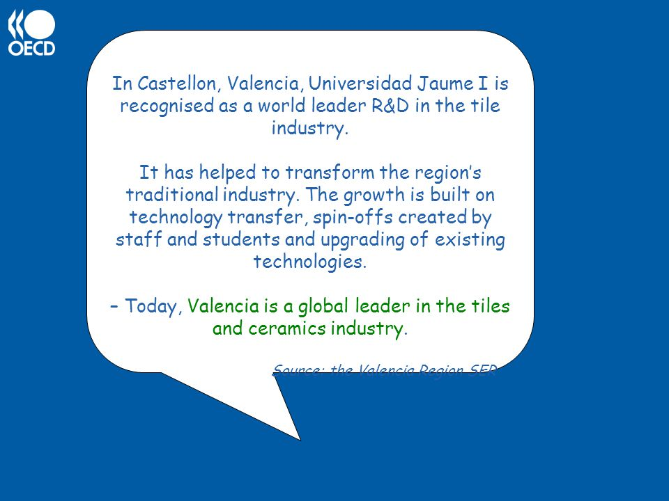 In Castellon, Valencia, Universidad Jaume I is recognised as a world leader R&D in the tile industry.