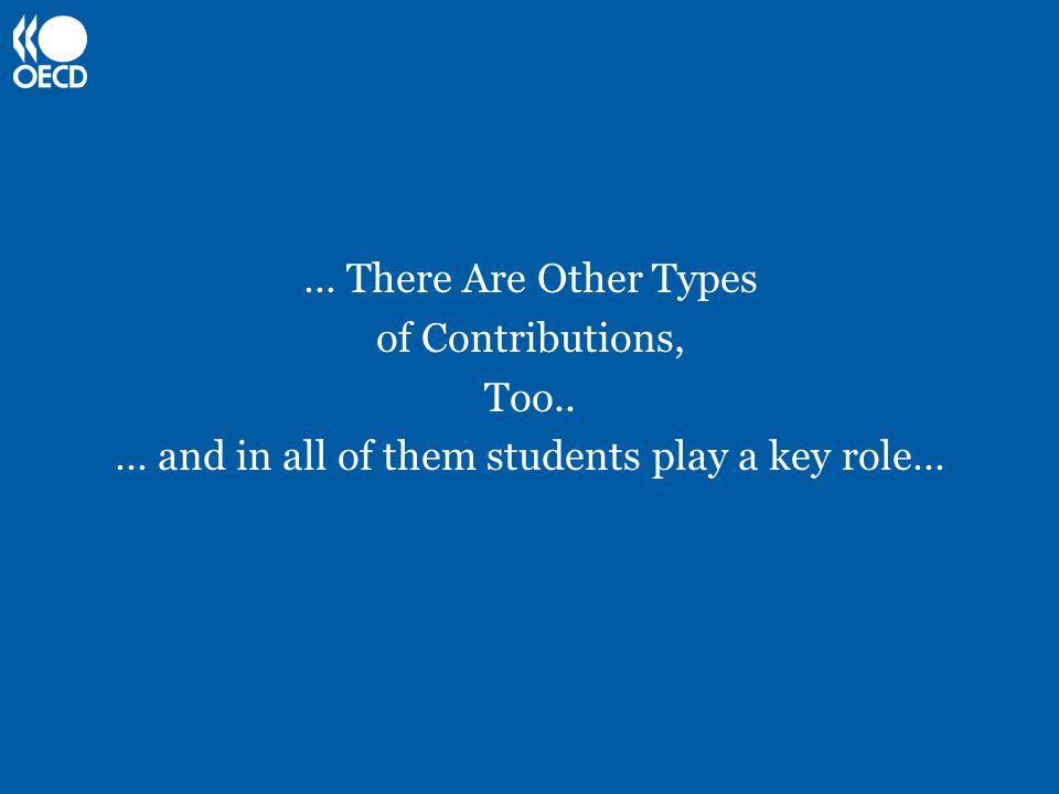 … There Are Other Types of Contributions, Too.. … and in all of them students play a key role…