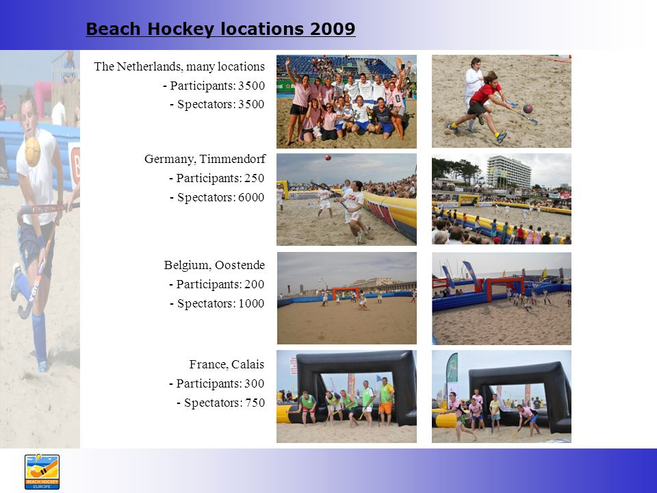 Beach Hockey locations 2009 The Netherlands, many locations - Participants: 3500 - Spectators: 3500 Germany, Timmendorf - Participants: 250 - Spectators: 6000 Belgium, Oostende - Participants: 200 - Spectators: 1000 France, Calais - Participants: 300 - Spectators: 750