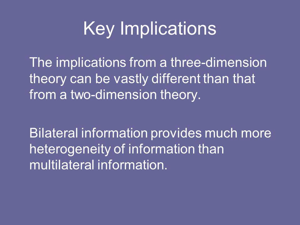 Key Implications The implications from a three-dimension theory can be vastly different than that from a two-dimension theory. Bilateral information p