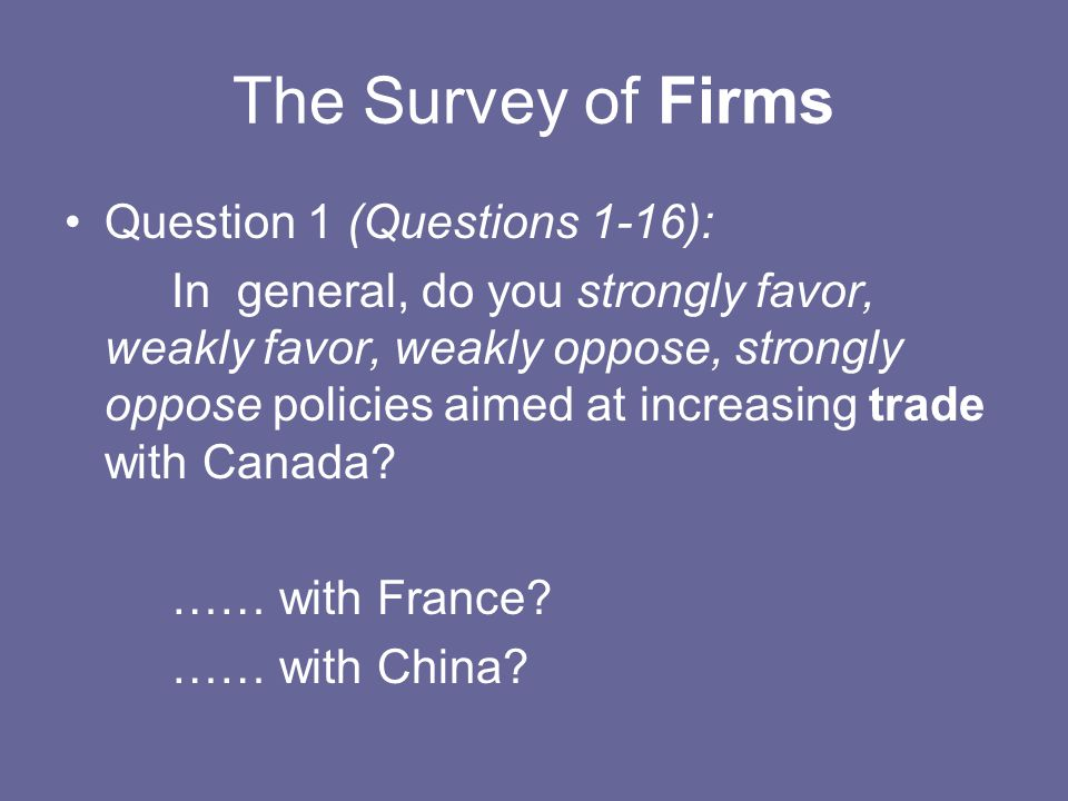 The Survey of Firms Question 1 (Questions 1-16): In general, do you strongly favor, weakly favor, weakly oppose, strongly oppose policies aimed at inc