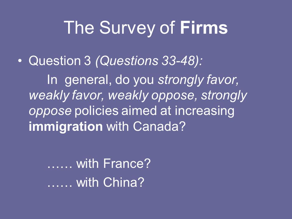 The Survey of Firms Question 3 (Questions 33-48): In general, do you strongly favor, weakly favor, weakly oppose, strongly oppose policies aimed at in