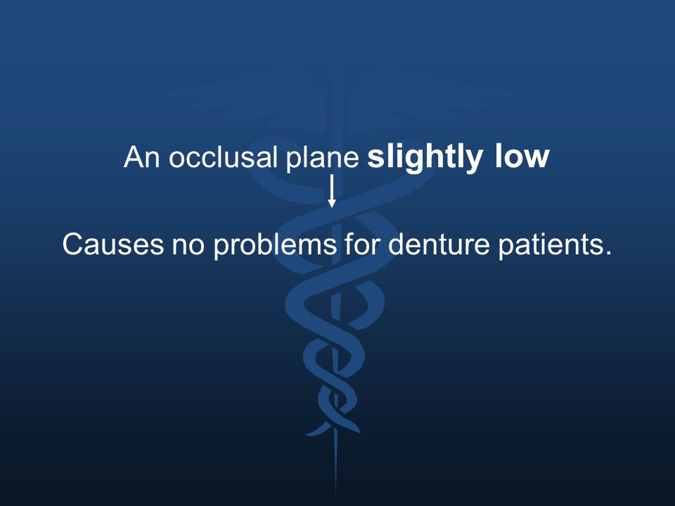An occlusal plane slightly low Causes no problems for denture patients.